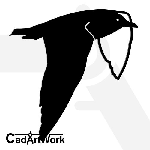 Flying seagull dxf artwork