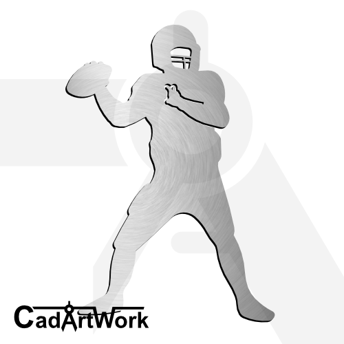 American footbal dxf laser cut clip art cadartwork.com