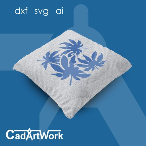 Cassava leaf cushion stencil